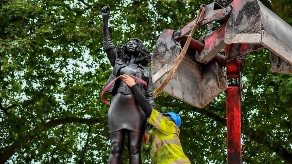 Black Lives Matter protester statue removed
