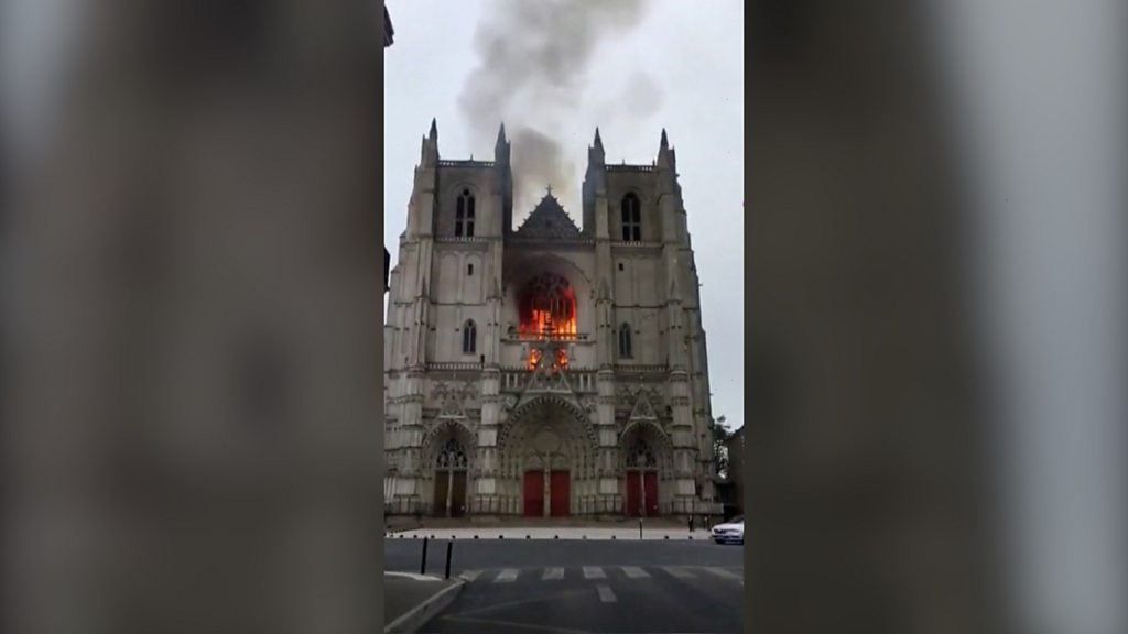 Nantes cathedral fire: Church volunteer rearrested over arson