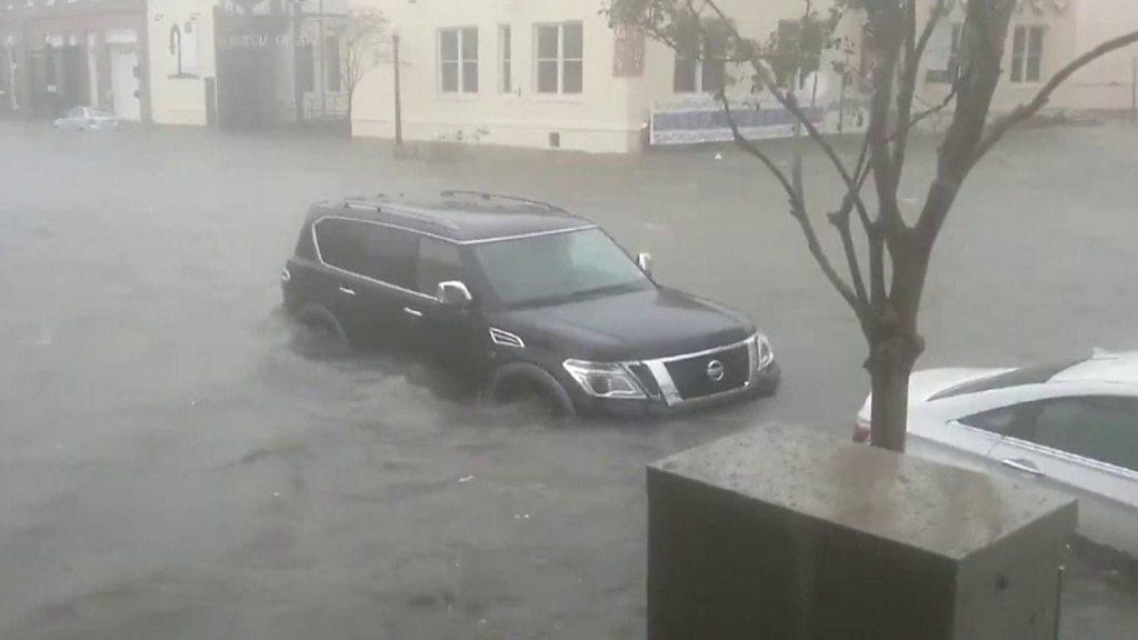 Hurricane Sally: Slow-moving US storm batters boats and bridges thumbnail