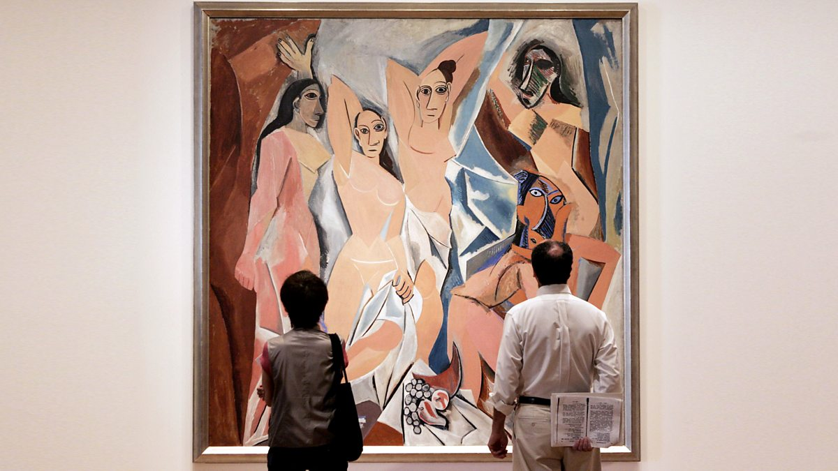 an analysis of the picassos work les desmoiselles davignon Les demoiselles d'avignon marks a radical break from traditional composition and perspective in painting picasso unveiled the monumental painting in his paris studio after months of revision the avignon of the work's title is a reference to a street in barcelona famed for its brothel.