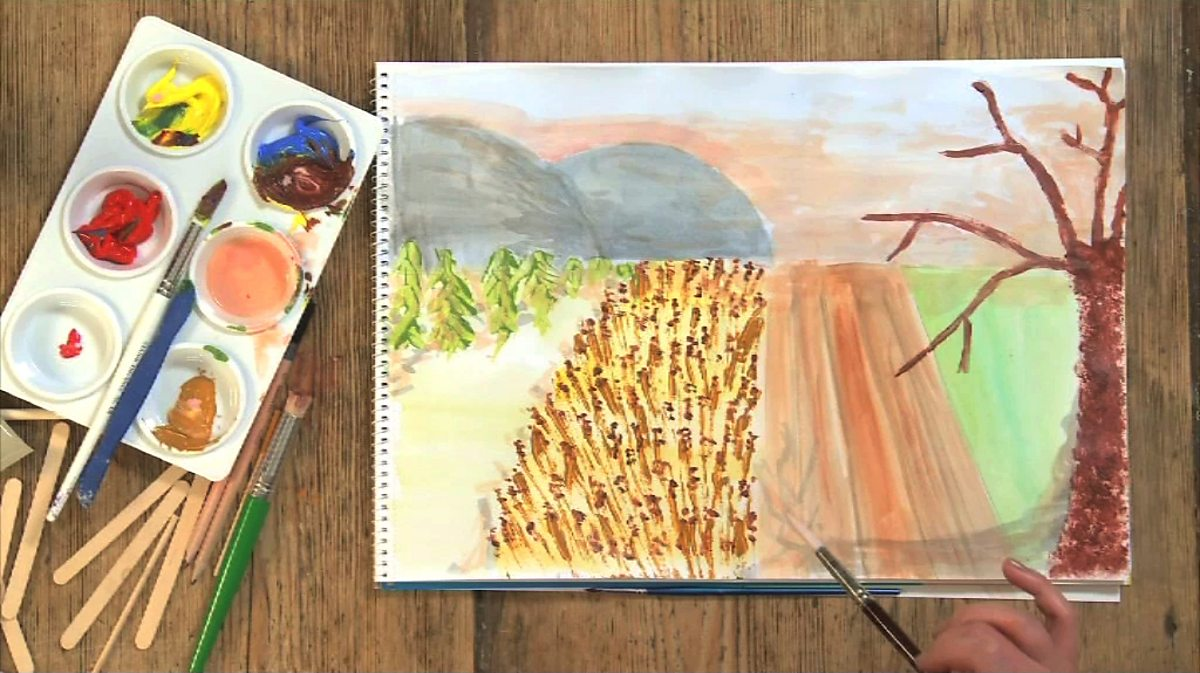 ks2 ks1 painting techniques different using collage landscape creating bbc teach effect