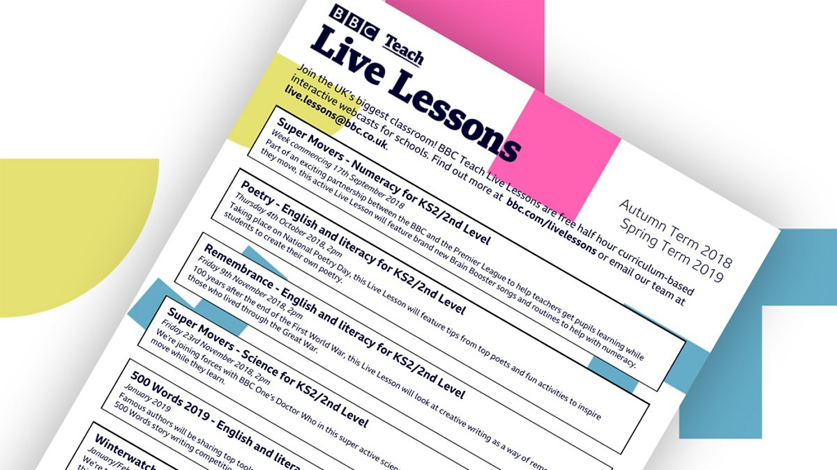 Spring 2019 term Live Lesson schedule - BBC Teach