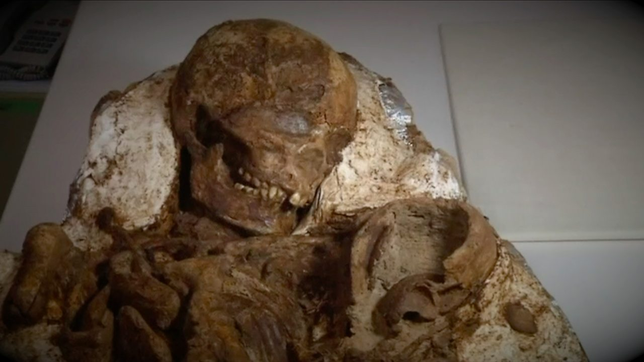 After 4,800 years fossilised mother and child found in embrace