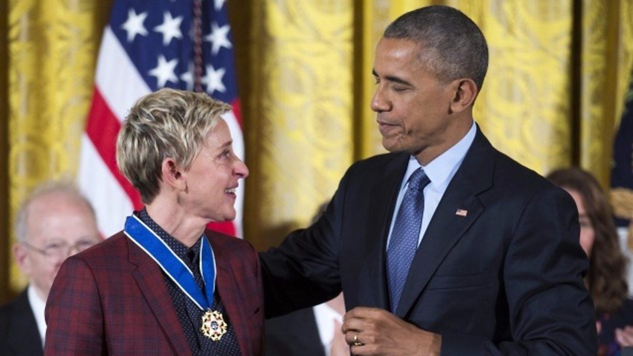 Barack Obama 'chokes up' giving Ellen DeGeneres 'Medal of Freedom'