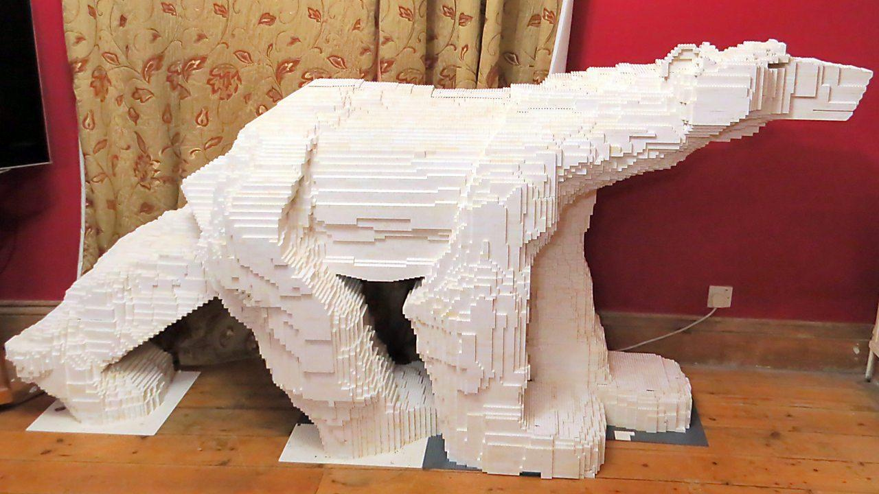 Giant Lego polar bear built by Huntingdon couple