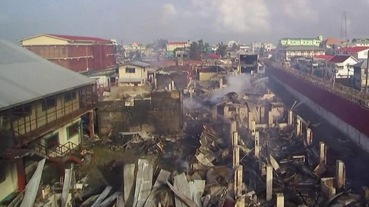 Drone footage shows Guyana prison fire aftermath