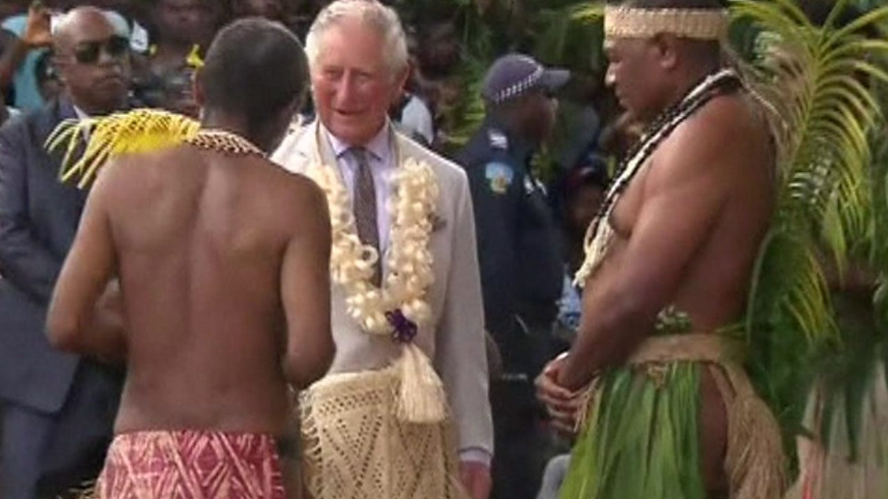 Grass skirt in Vanuatu for 'high chief' Prince Charles