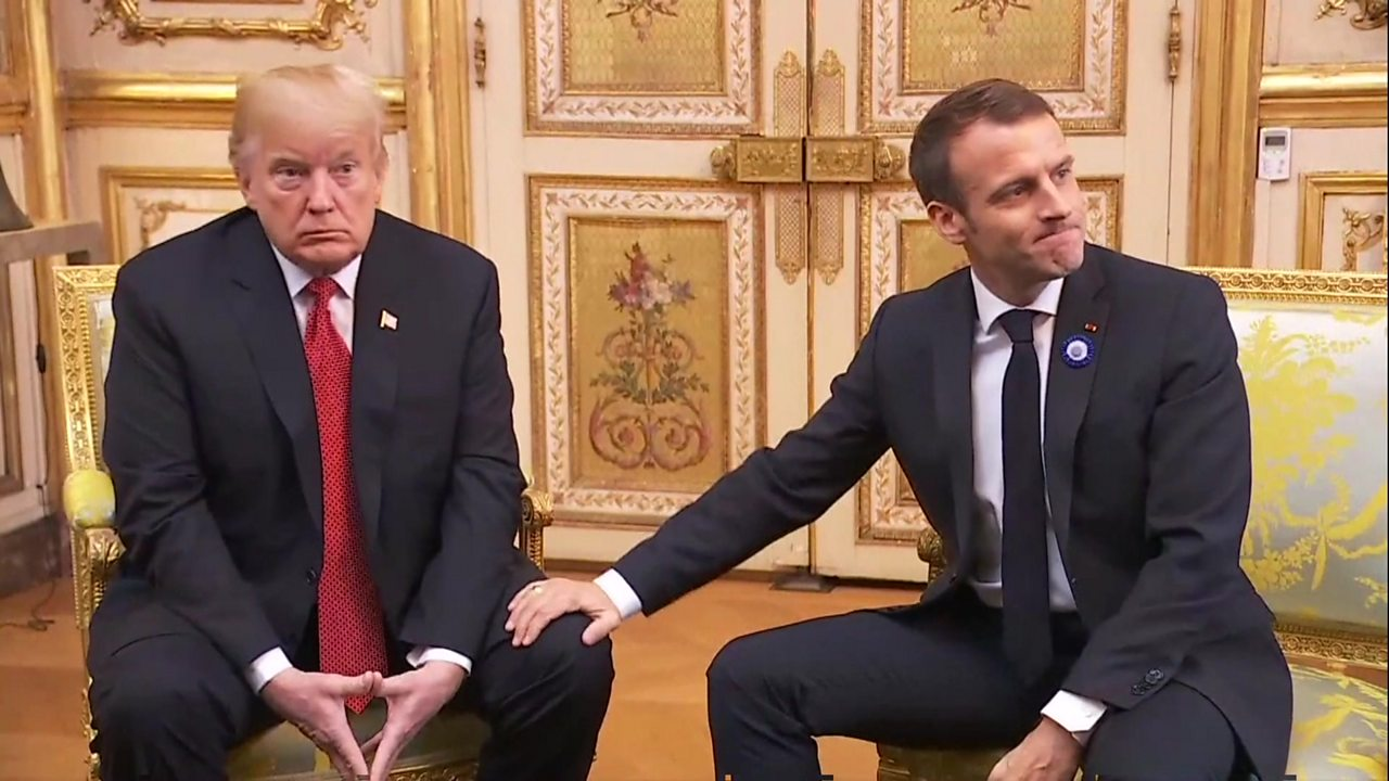 President Macron defends European defence policy during Donald Trump meeting