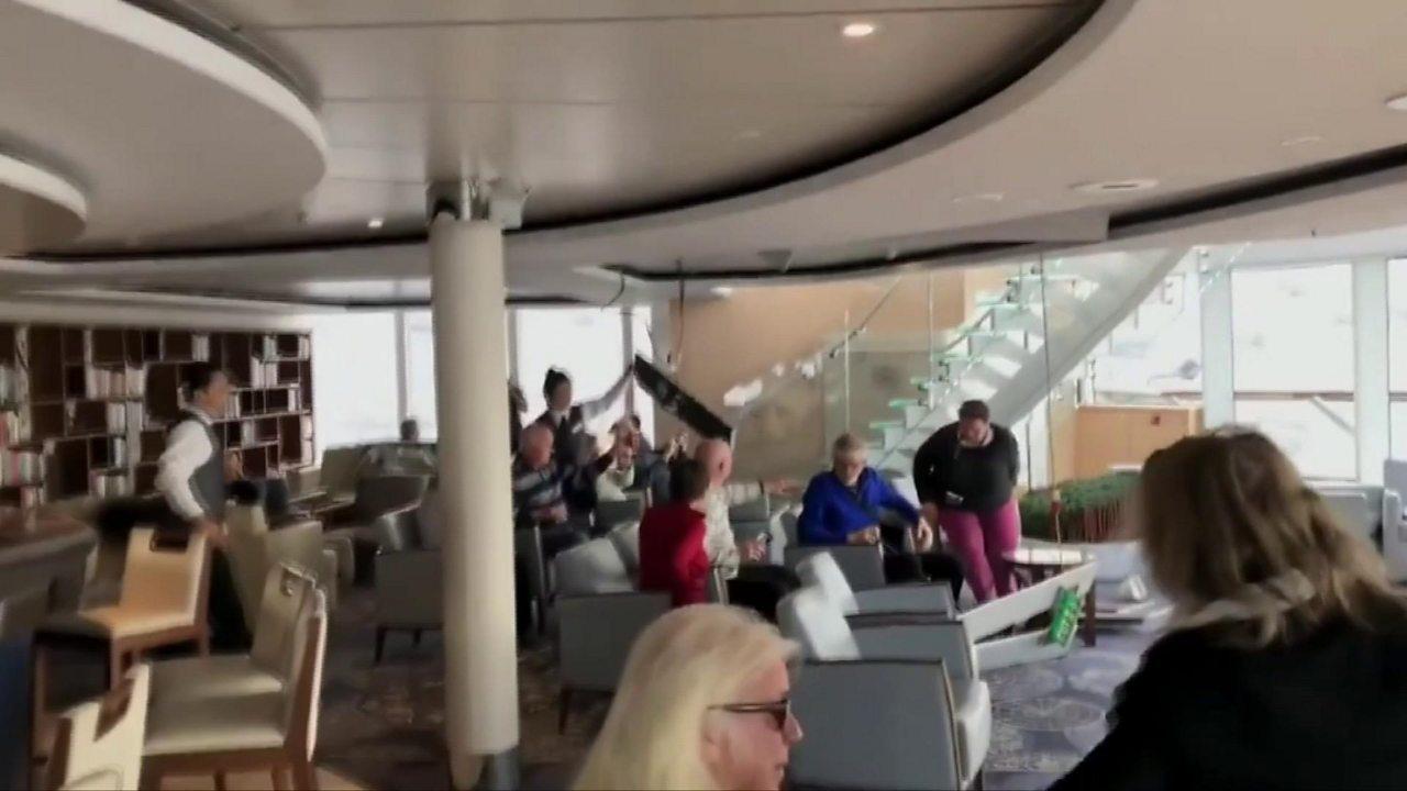 Norway cruise ship tilts sending furniture sliding