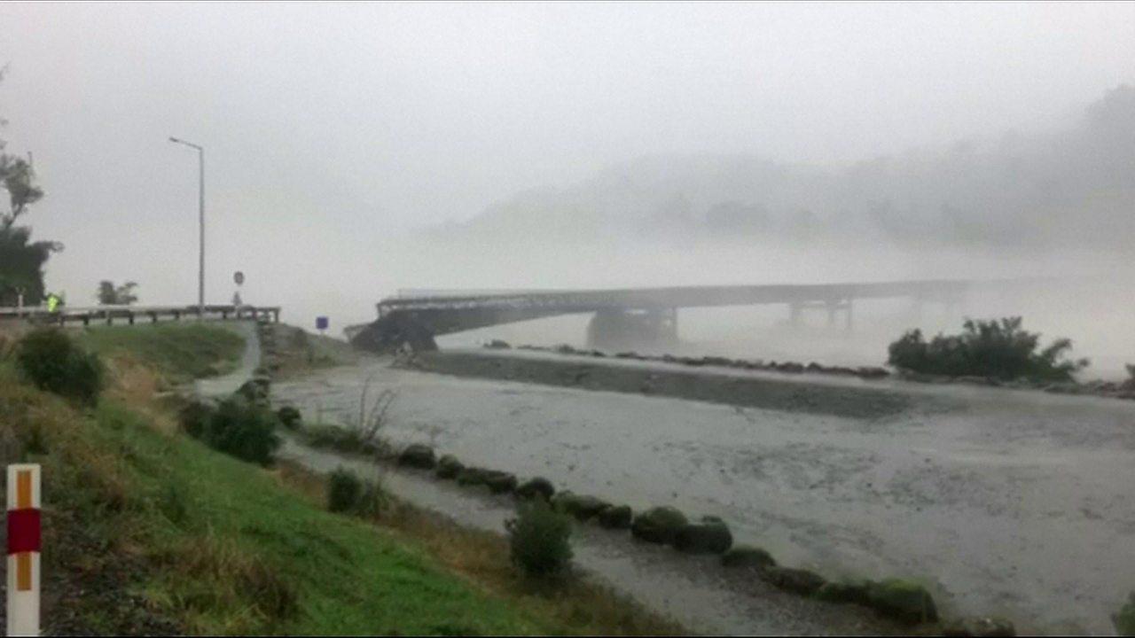 New Zealand bridge washed away in heavy storm