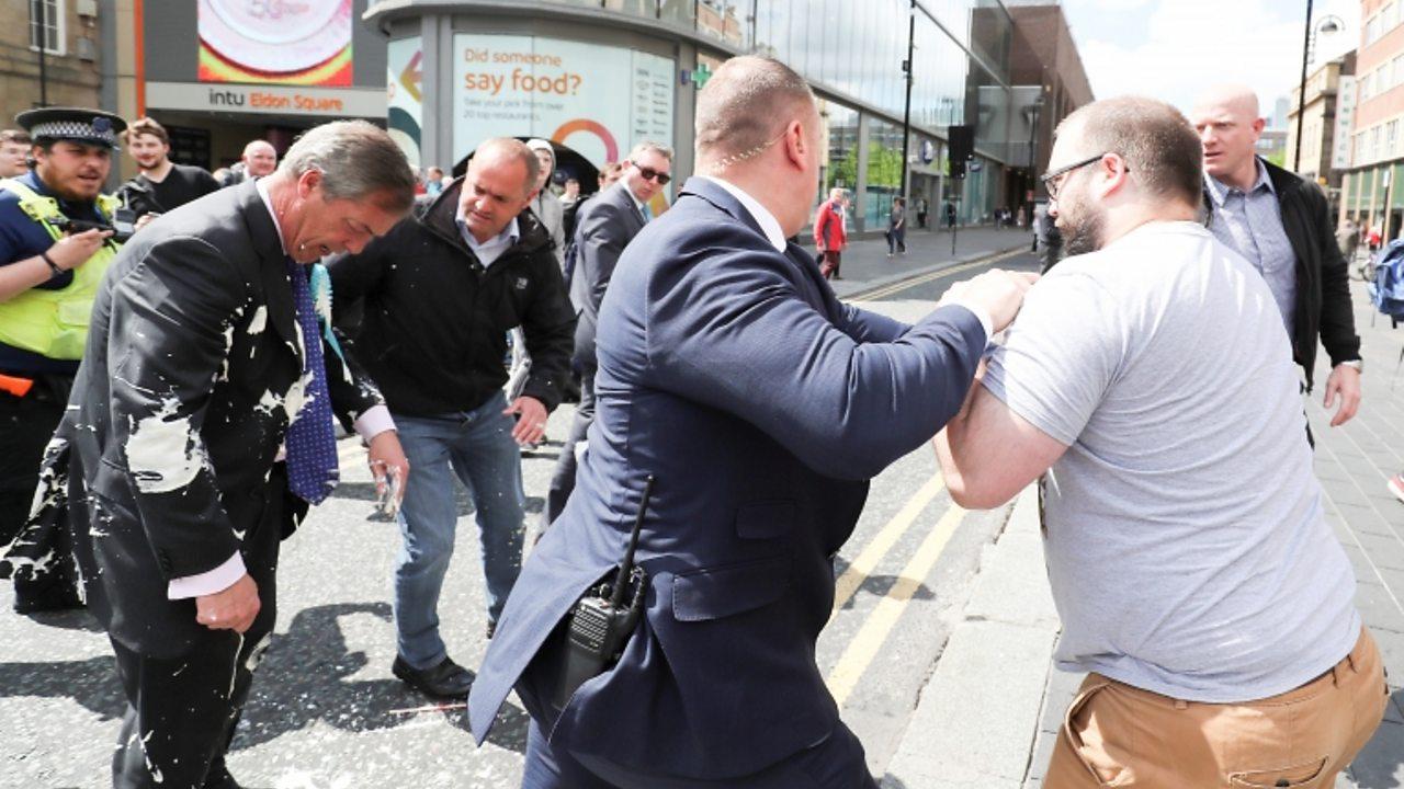 Nigel Farage: Milkshake thrown at Brexit Party leader