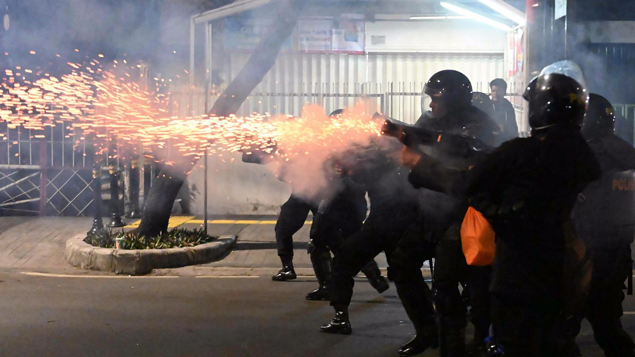 Tear gas fired as Indonesia protest turns violent
