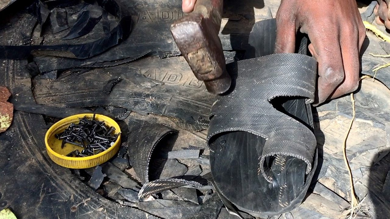 Recycling old tyres to make sandals in Ethiopia