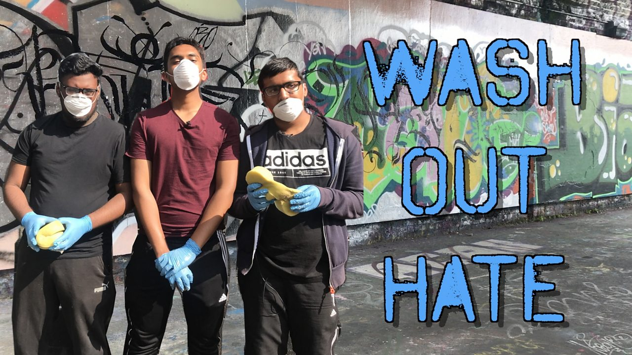 Washing out hate crime graffiti in London