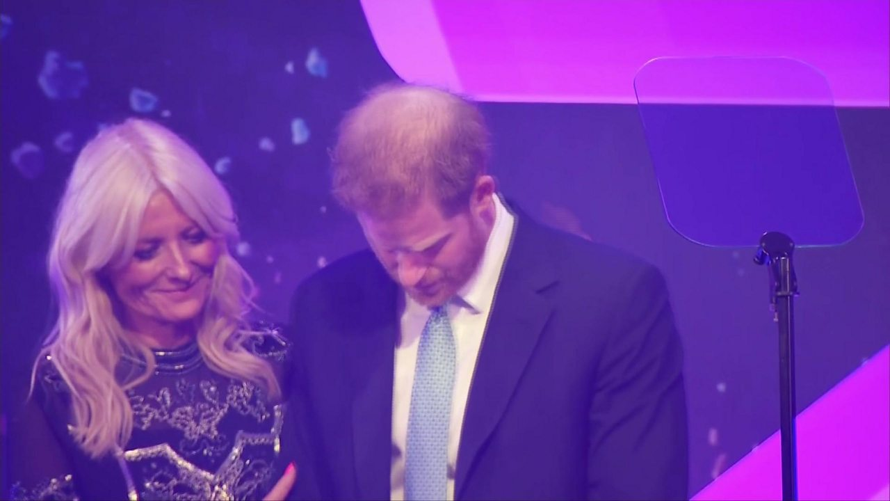 Prince Harry has an emotional moment during speech