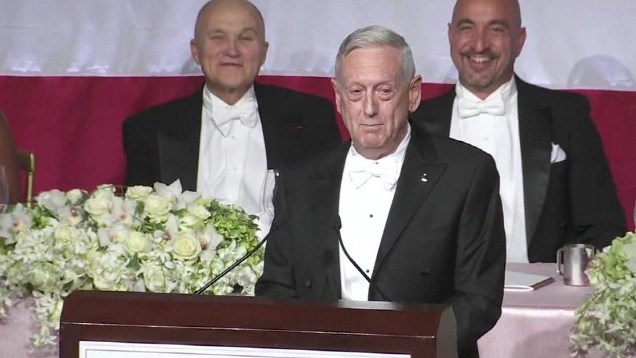 James Mattis mocks Donald Trump at gala dinner