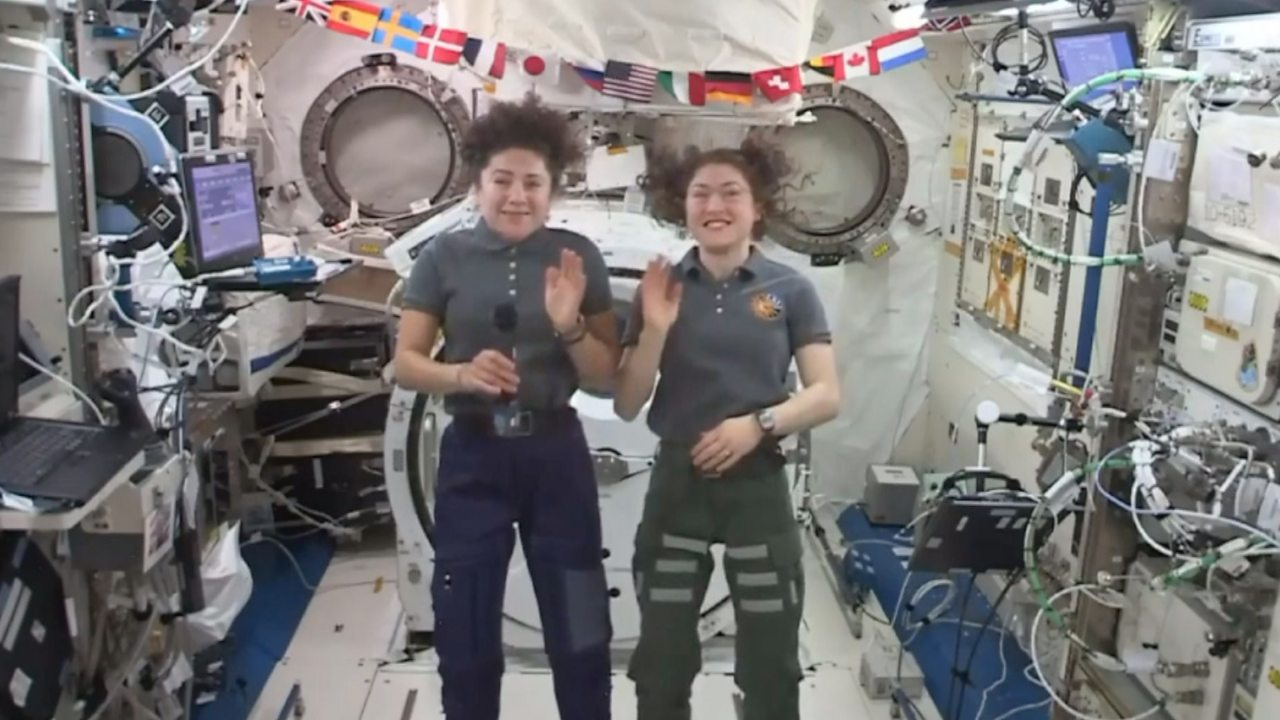 Female astronauts answer questions from orbit after spacewalk