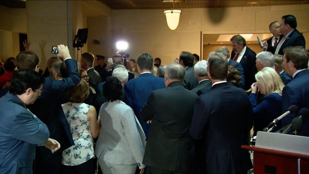 Republican Congress members storm impeachment hearing