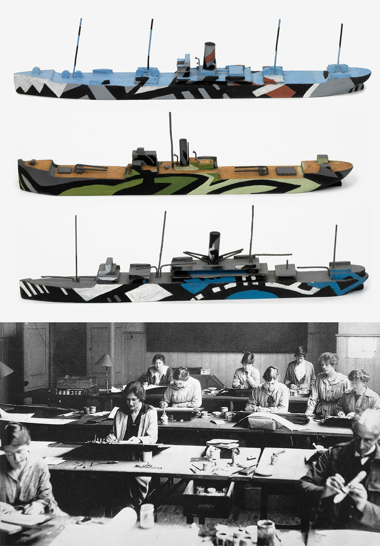Top: Original WW1 ship models painted to test dazzle camouflage schemes.  Bottom: Dazzle Section at work in Burlington House in 1917.