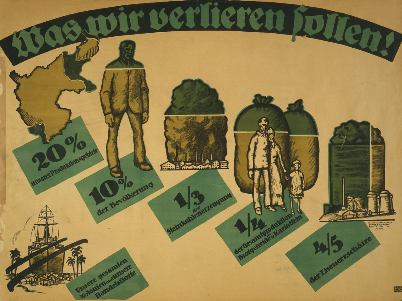A 1919 German poster detailing what will be lost by Germany after the signing of the Treaty of Versailles.