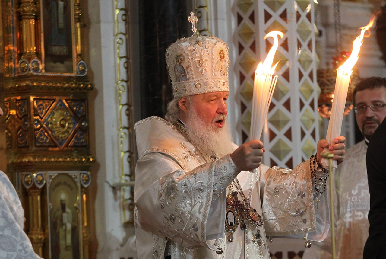 Russian Orthodox Patriarch Kirill I leading prayers in Moscow during the Easter Midnight Mass in 2013