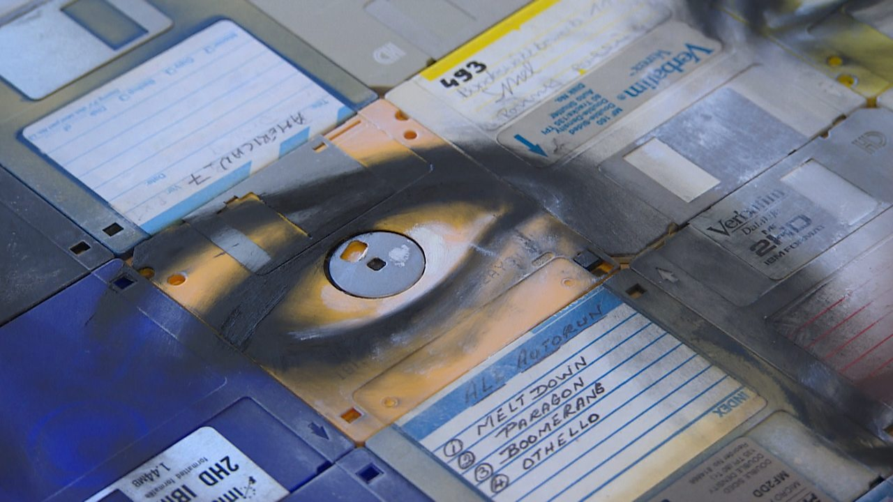 Creating a portrait from old floppy discs