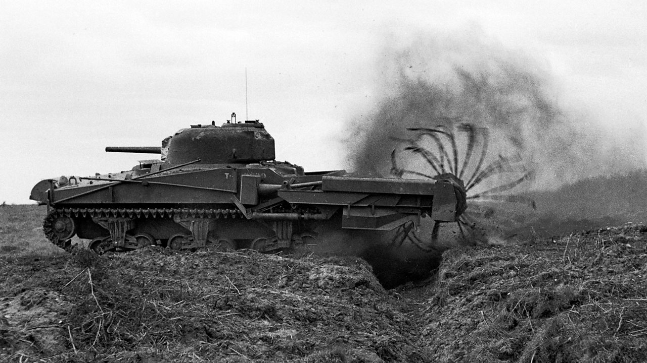 Photograph of a crab tank, fitted with a flail rotor to cut through barbed wire.
