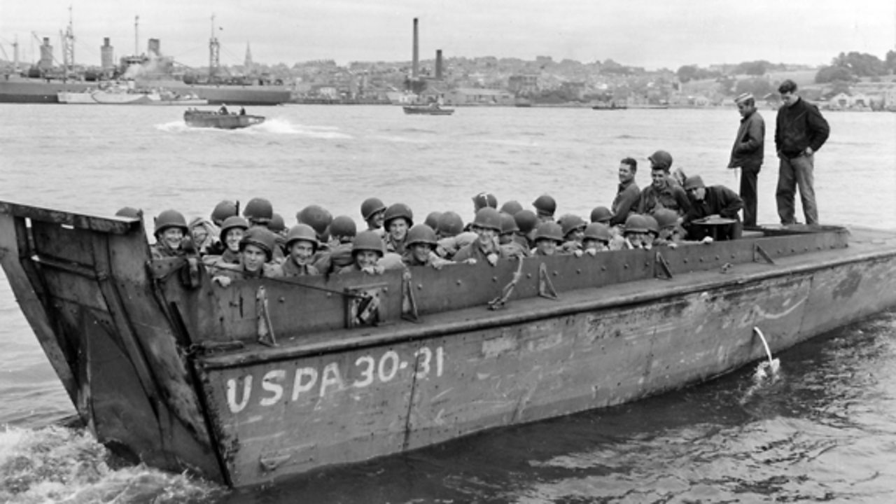 Photograph of soldiers aboard a higgins boat.