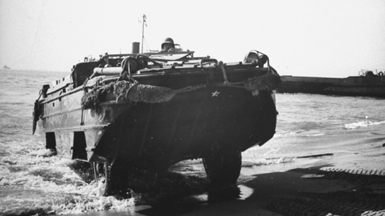 THE 'DUCK': The Allies also needed to reinforce and resupply their troops across the beaches. This six-wheeled amphibious truck was effective at carrying equipment and supplies over water and land. Some sank due to high-seas and being overloaded.