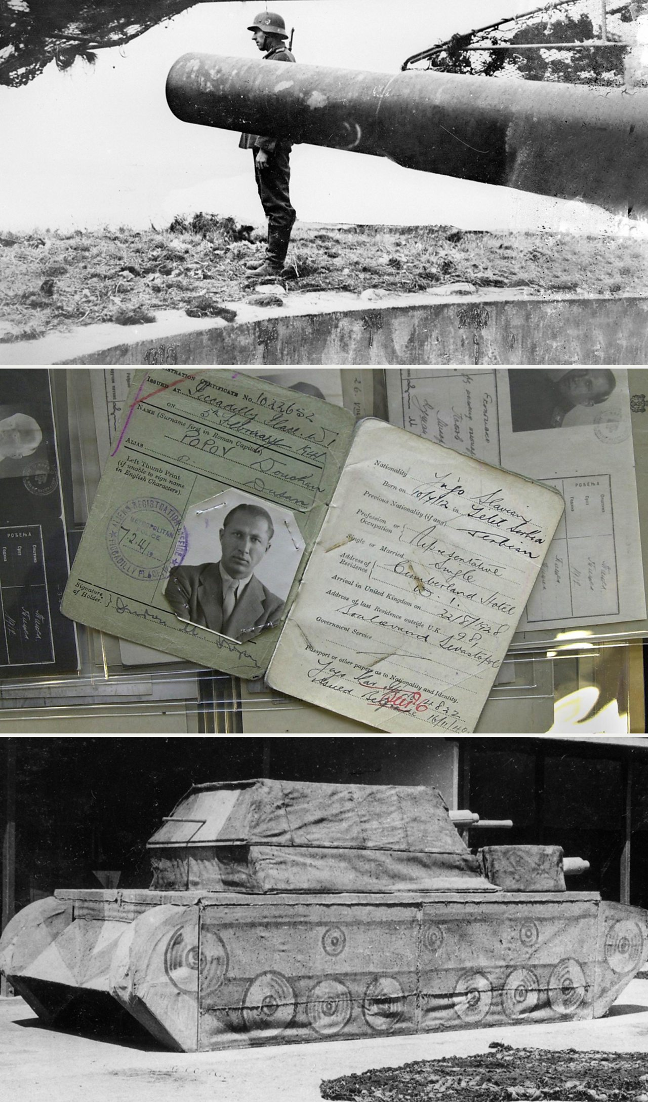 From top: The Atlantic wall, spy documents and a fake tank