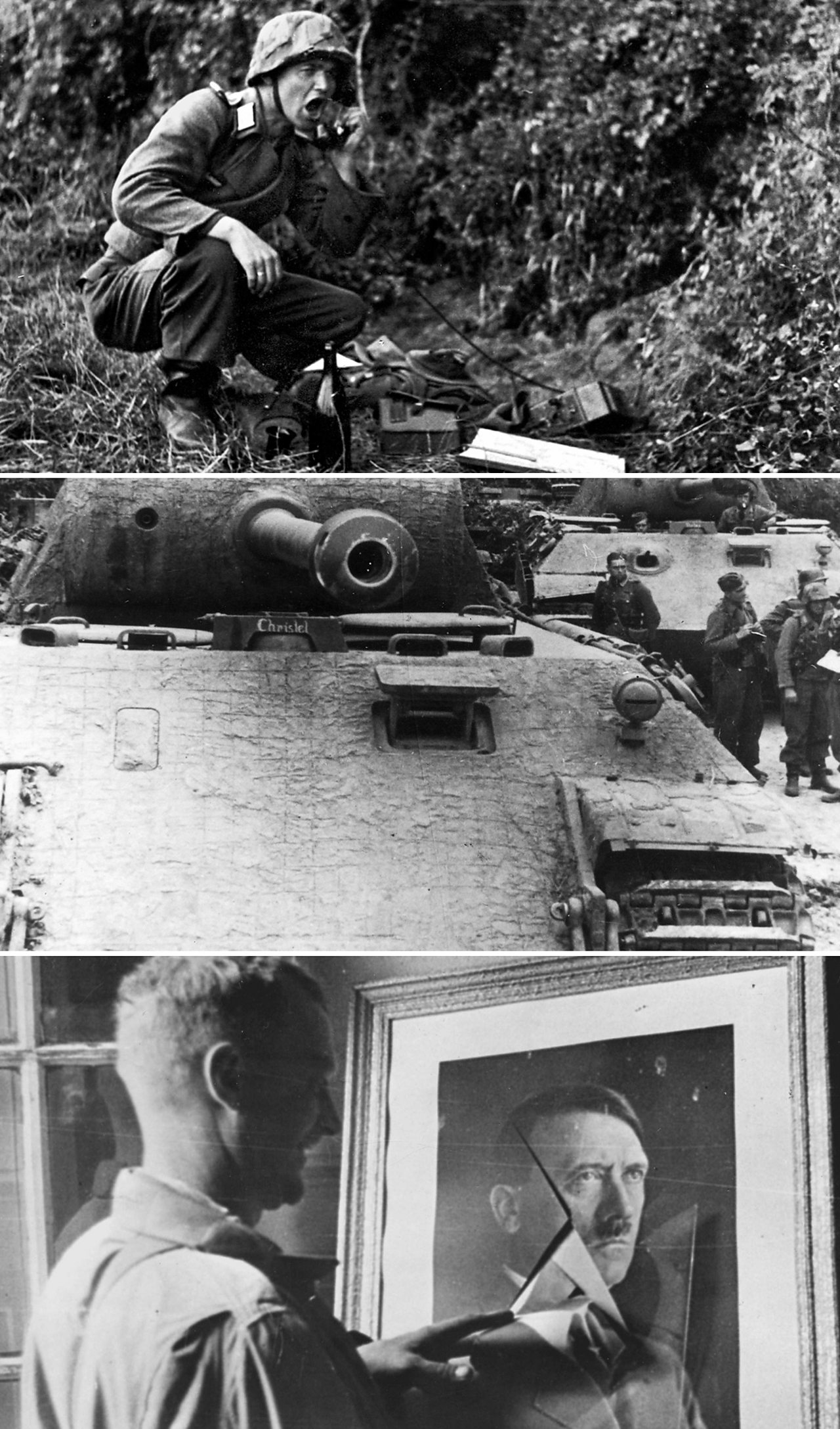 From top: German radio operator during D-Day; tank in Normandy; US GI, Sainte Mere Eglise standing beside a broken image of Adolf Hitler