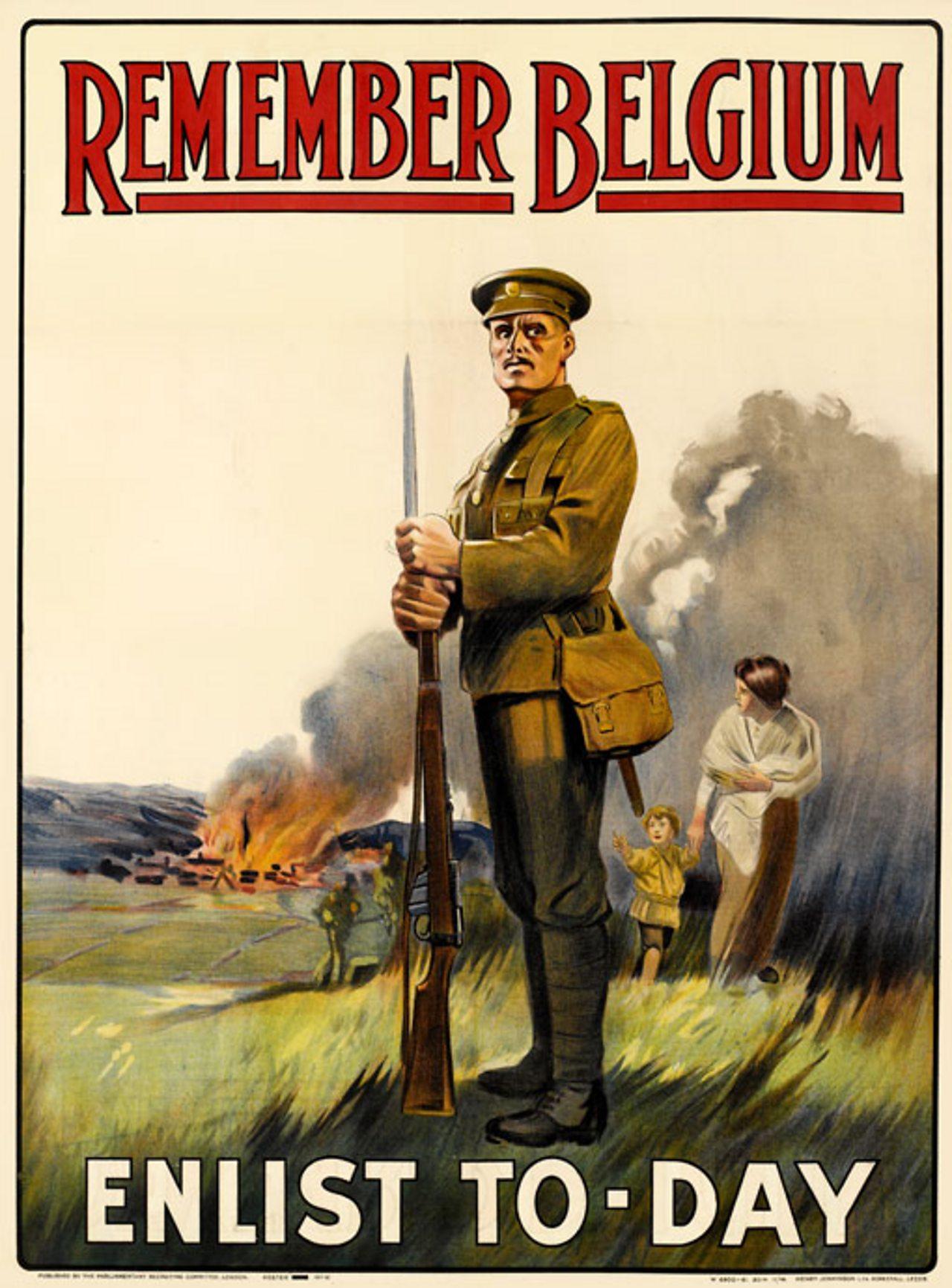 "Belgian enlistment poster, featuring the words ""remember Belgium, enlist today"""