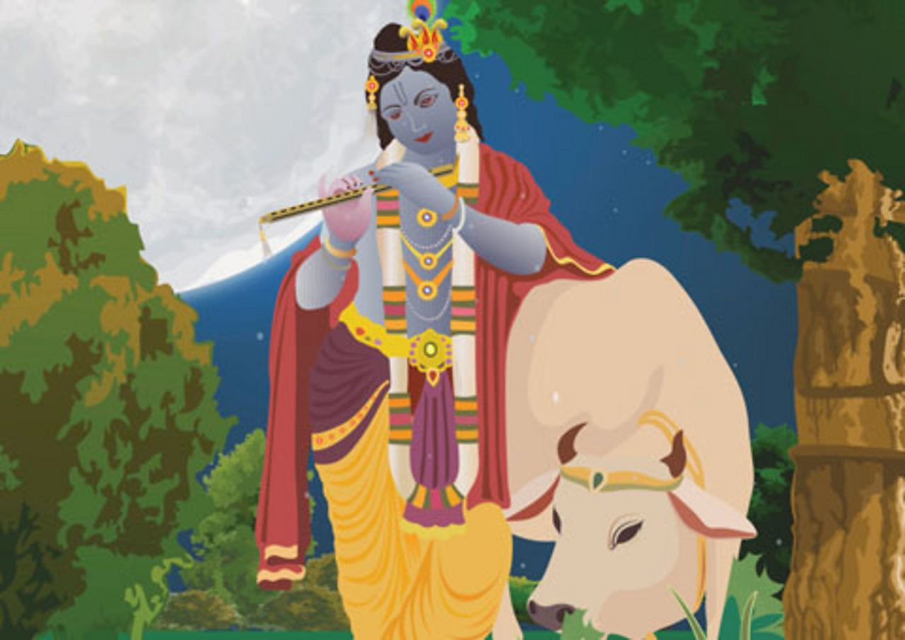 Krishna  playing the flute, with a sacred cow beside him.