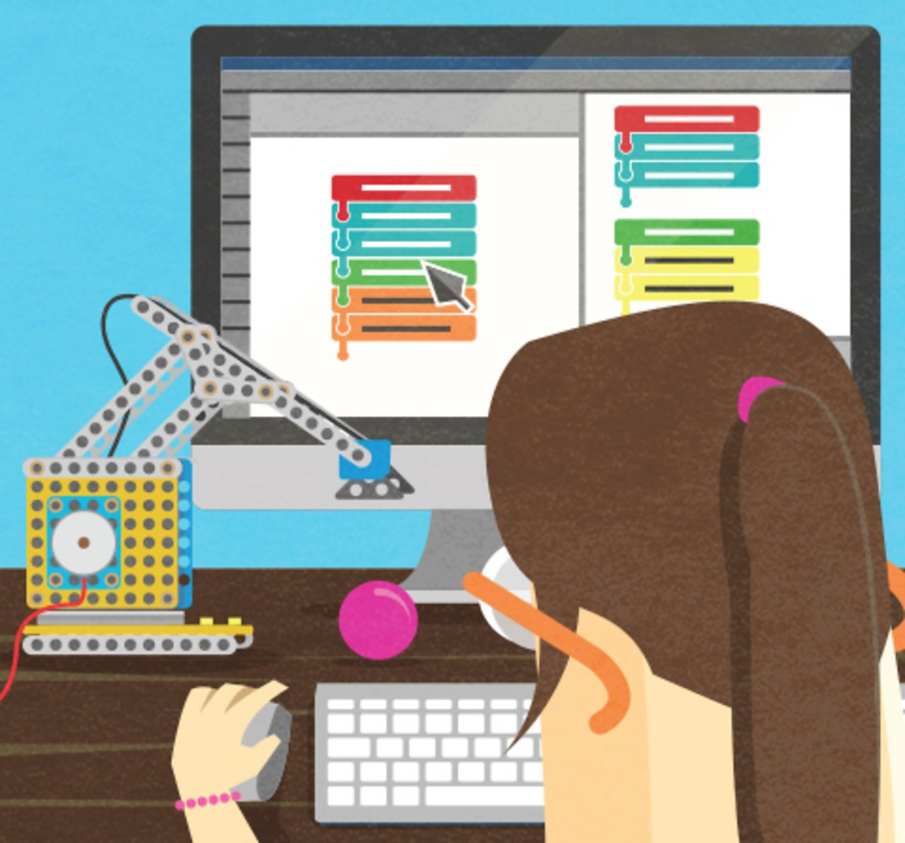 An illustration of a computer programmer at a computer