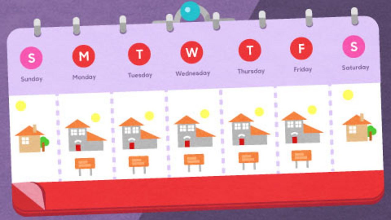 A calender showing school and home times.