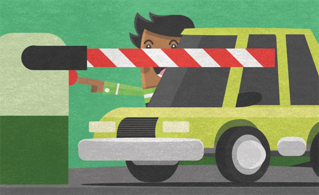 An illustration of a car leaving a car park.