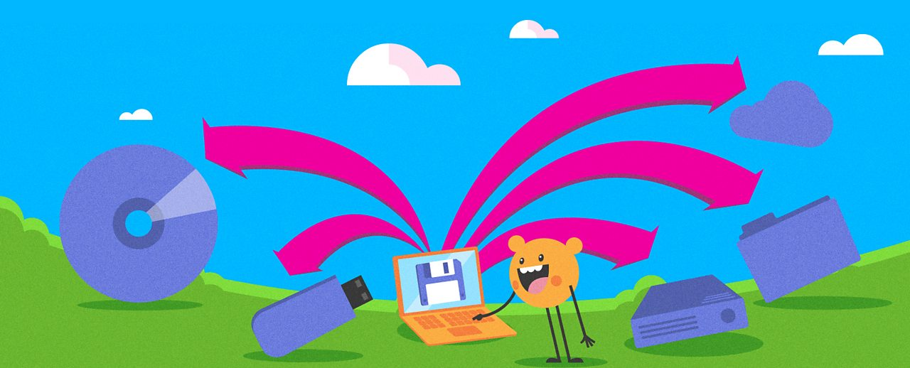 A cartoon character using a laptop, surrounded by illustrations of storage devices