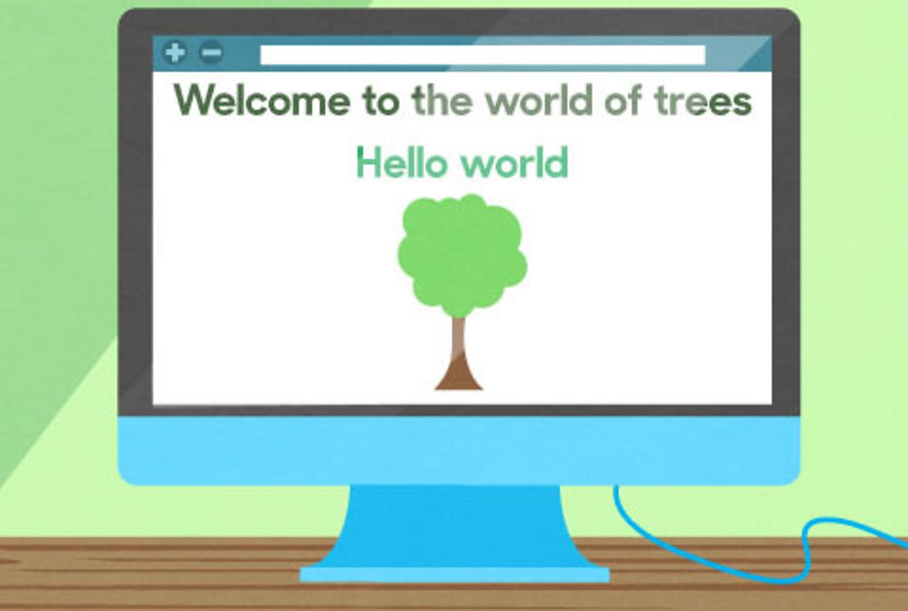 Computer screen showing a hello world screen, with a tree on it.