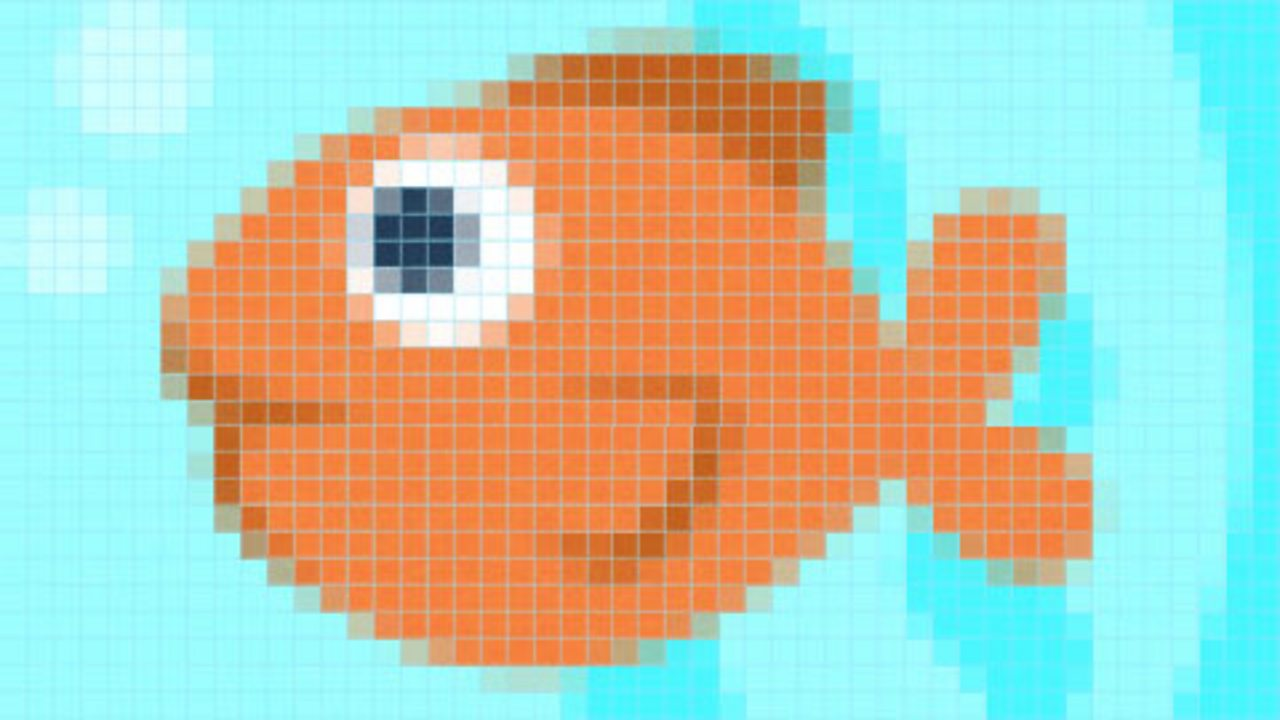 An image of a goldfish made up of large squares. It looks low-resolution.