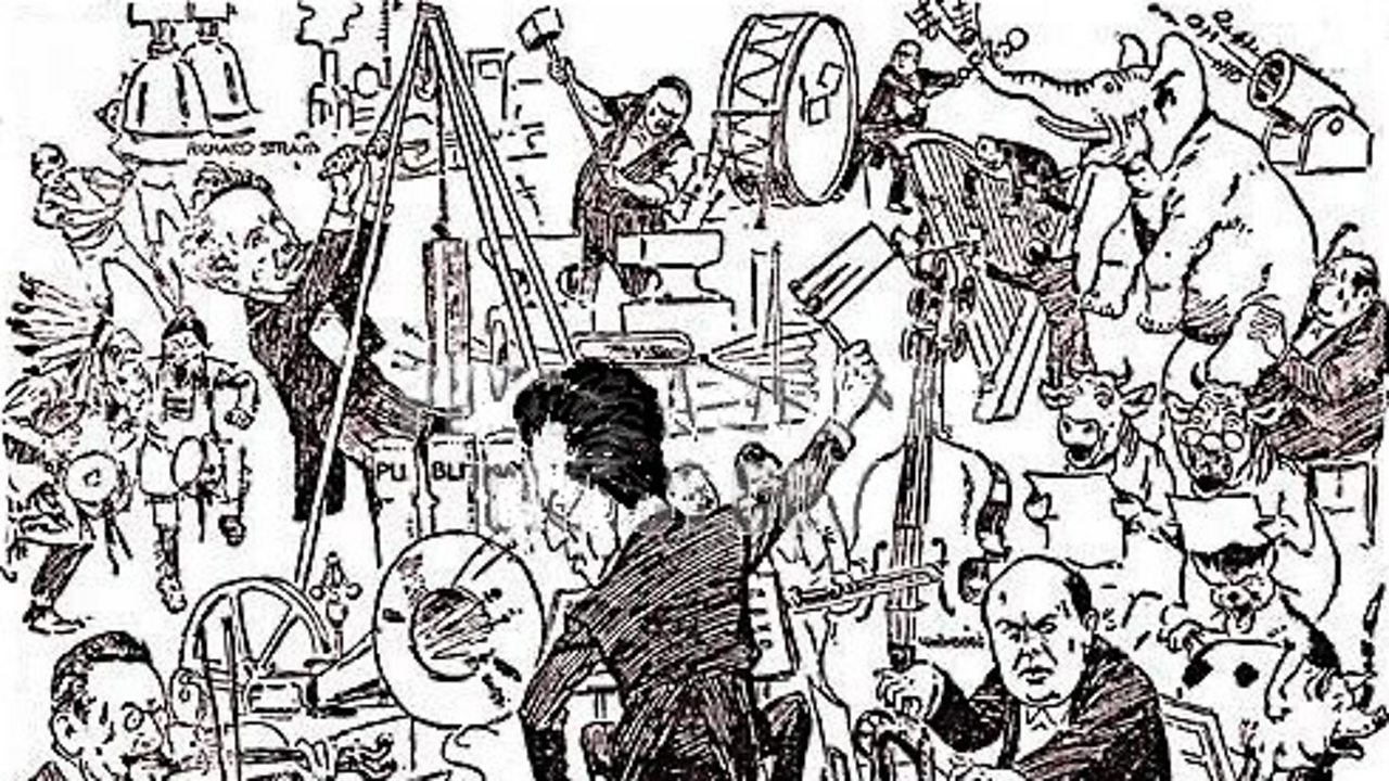 1907 caricature by Theo Zasche showing Mahler conducting a modern orchestra. The pictures shows animals alongside famous composers including Schoenberg and Richard Strauss.