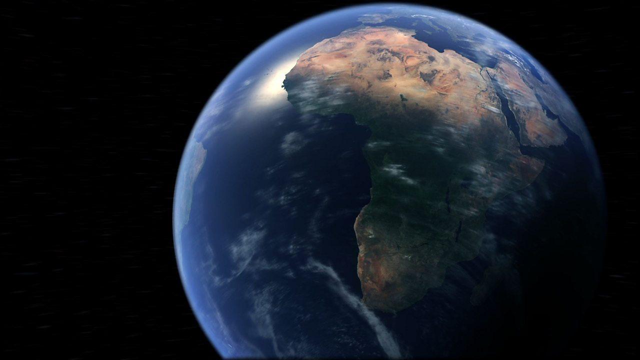 Picture of the Earth from space, showing the African continent.