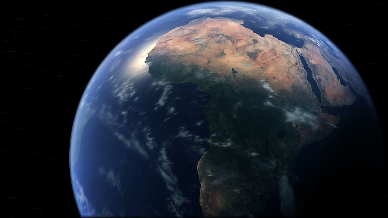 The Earth from space, tilted on its axis. Saharan and Sub-Saharan Africa visible.