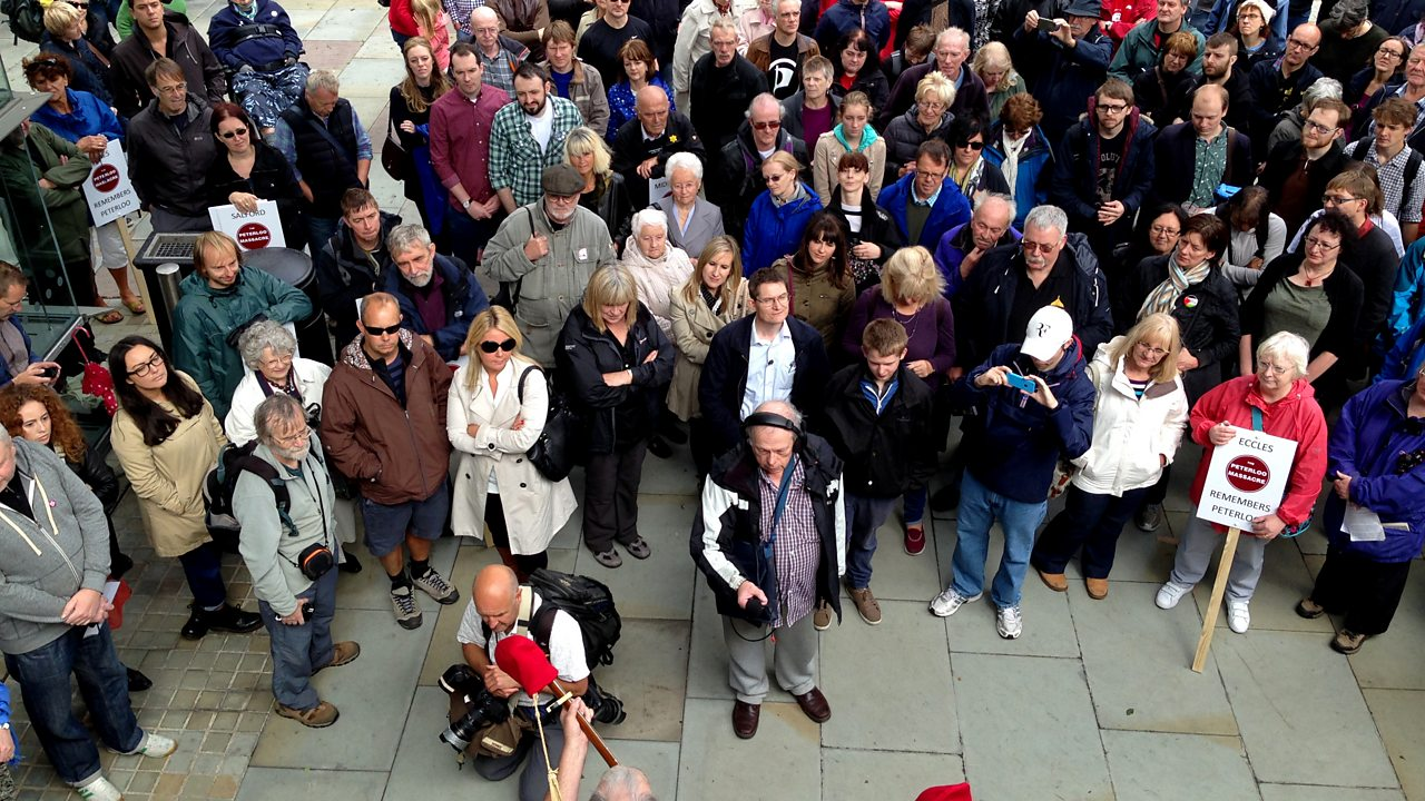 People gather in Manchester in 2014 to commemorate the Peterloo Massacre.