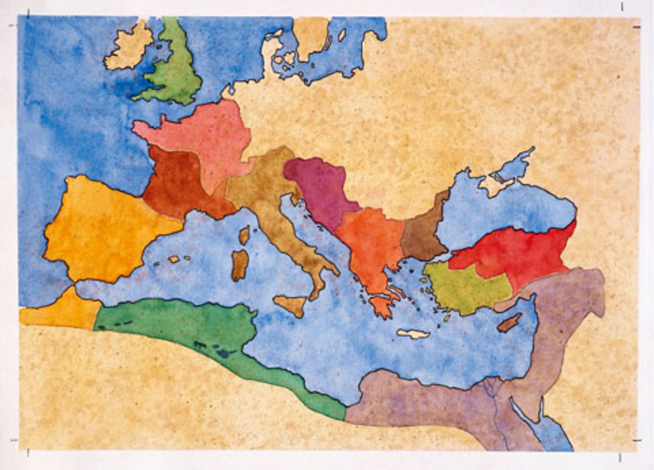A map of Europe and North Africa showing the provinces of the Roman Empire in the early 2nd Century.