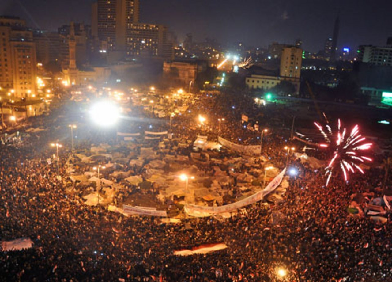 Hundreds of thousands of Egyptian celebrate in Tahrir Square.