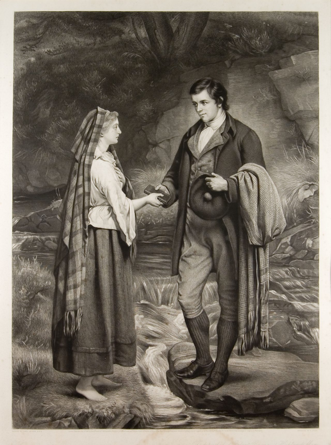 Picture showing Burns and Highland Mary by a stream