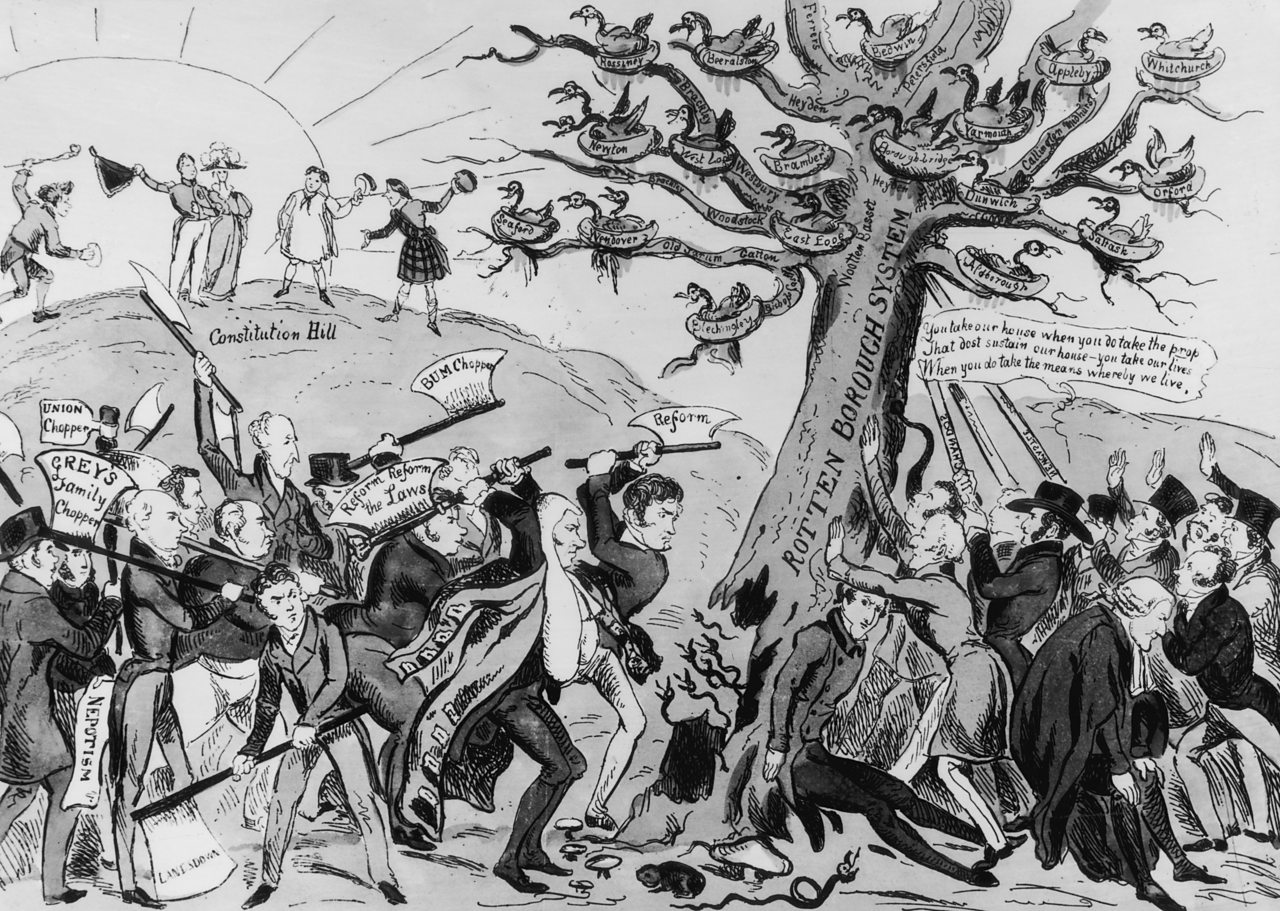 The Reform Act  of 1832 satirised by a contemporary artist.