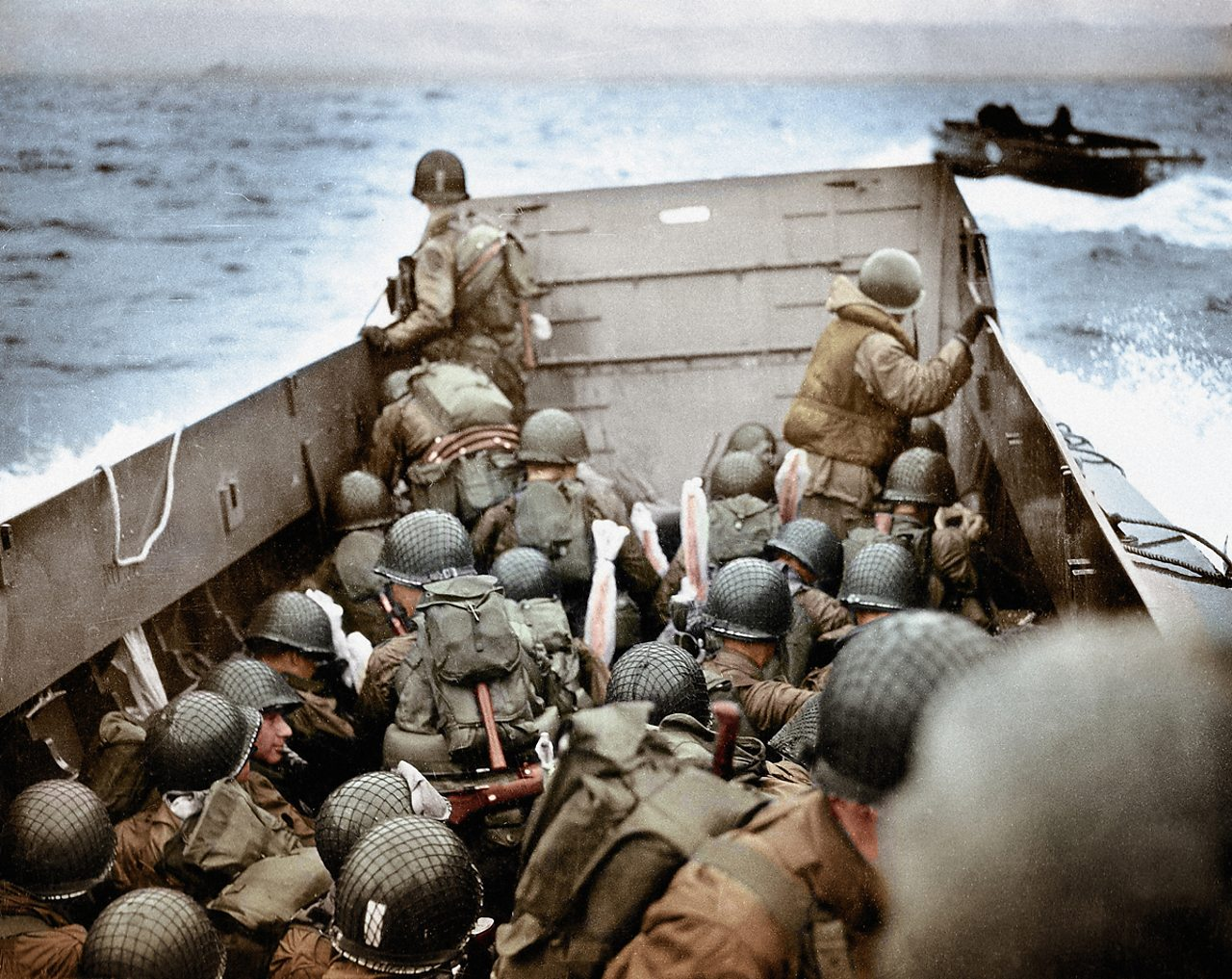 Allied troops approach Omaha Beach on D-Day.