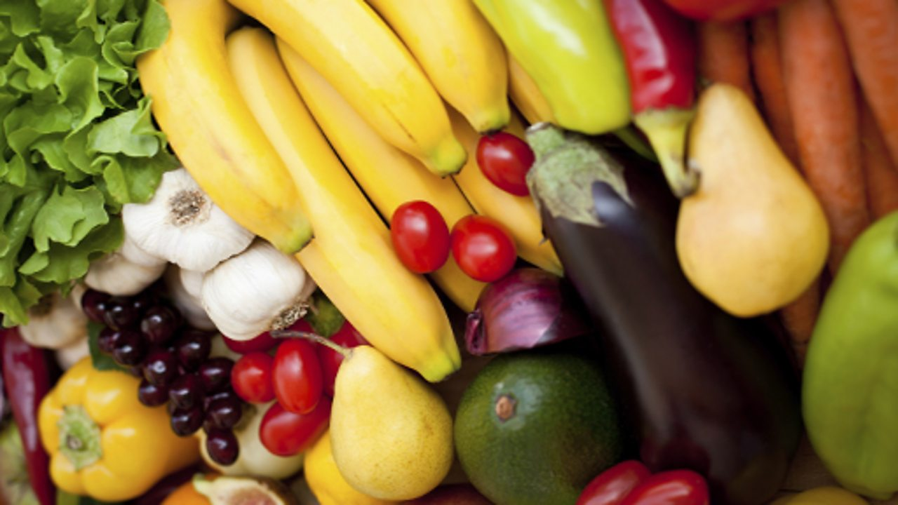 A large selection of colourful fruit and vegetables