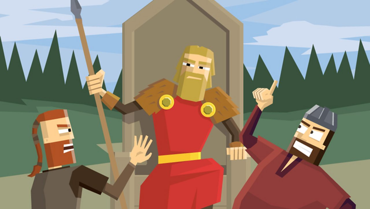 A Viking 'law-speaker' overseeing a 'Thing'.